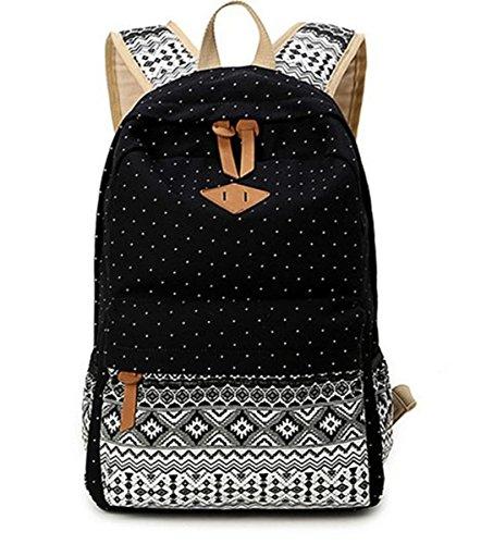 Zaino donna con portatile vano Travel Leisure College Student Zaini scolastici nero
