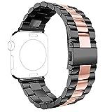 Armband für Apple Watch 42mm, Rosa Schleife Edelstahl Uhrarmband Ersatzarmband iWatch Replacement Watch Strap mit Schmetterling Schließe für Apple Watch Series 4 3 2 1 42mm 44mm Schwarz Rose Gold