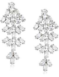 Cz By Kenneth Jay Lane Women's 22Cttw Cz Cluster Marquise Waterfall Drop Earrings, Clsi, One Size