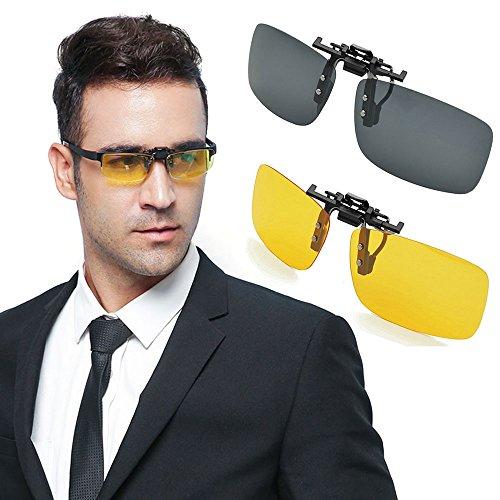 Preisvergleich Produktbild Sonnenbrillen Clip, Ubegood Sonnenbrille Aufsatz Polarisierende Sonnenbrille Brillen Aufsatz [UV-Schutzfaktor] Polarizing Sunglasses Myopia Night Vision Glasses für Sonnenbrillen Clip - 2 pack