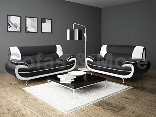 lewis-black-white-pu-leather-3-2-seater-sofa-suite