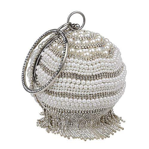 Melodycp Abendtasche für Damen und Frauen, Ball-Modell, mit Perlen, Tasche für Hochzeit, Cocktail, Handtasche, Balltasche, elegant Silber