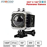 Black: SOOCOO C-UBE360S WiFi 1.5inch 30M Waterproof Mini Sports Action Camera 360 Wide-Angle Cameras Wide-Angle 360*180 HD Video Camera