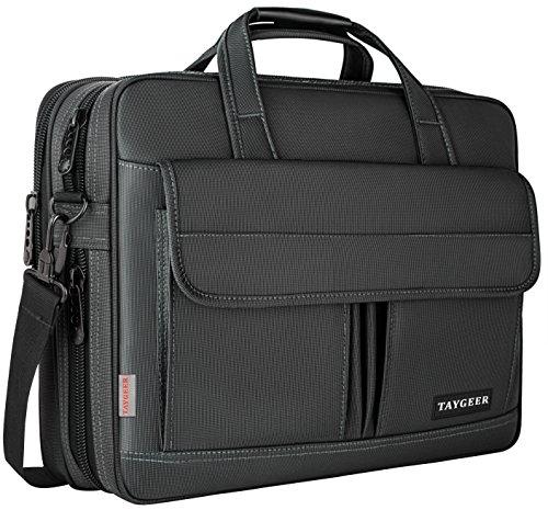 Bolsa para ordenador portátil de 15,6 pulgadas, maletín resistente al agua, bandolera expansible de 15 pulgadas con correa, funda de transporte Taygeer para hombres y mujeres de negocios, negro