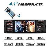MEKUULA Autoradio Bluetooth MP5, MEKUULA USB/récepteur avec récepteur Audio/Lecteur MP5 / FM Radio pour Samsung/iPhone, USB/TF/AUX Mains Libres et Microphone intégré