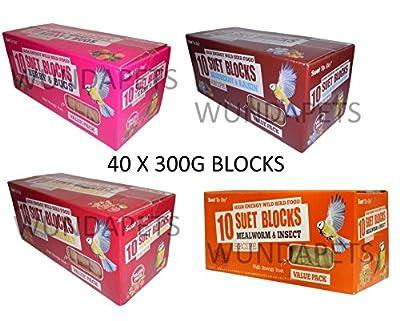 Suet To Go 40 X 300g Wild Garden Bird Suet Feeder Blocks 4 Flavours High Energy by UNIPET