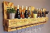 Weinregal aus Palette beflammt vintage für 10 Weingläser Flaschenregal Weinflaschenregal Wandregal Hängeregal Palettenmöbel Bar Holzregal Shabby