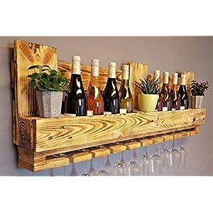 Weinregal Palette beflammt vintage für 10 Weingläser incl. Aufhängung Schrauben & Dübel Flaschenregal Weinflaschenregal…