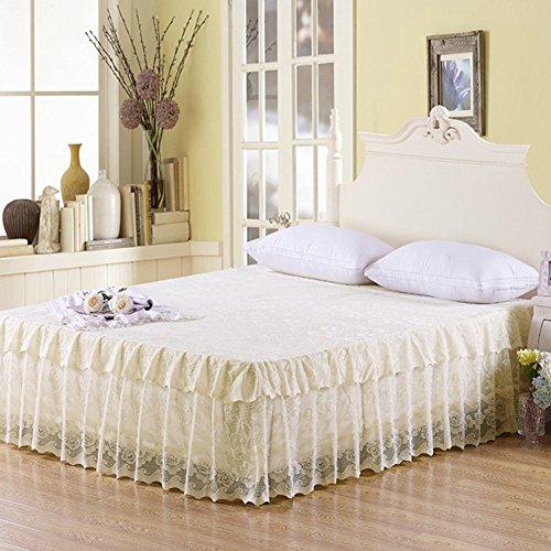Hxxkact pizzo gonna del letto,gonna gonna antipolvere copriletto set letto 17.7 pollici cadere decorazione queen-king letto matrimoniale-l 120x200cm(47x79inch)