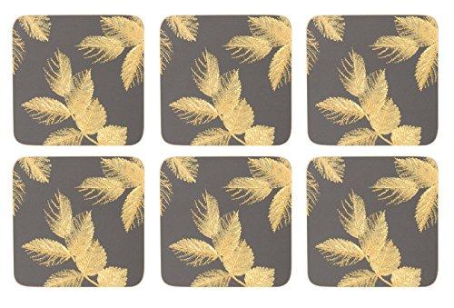Sara Miller geätzt Blätter dunkelgrau Untersetzer–Set von 6 (Blatt-untersetzer-set)