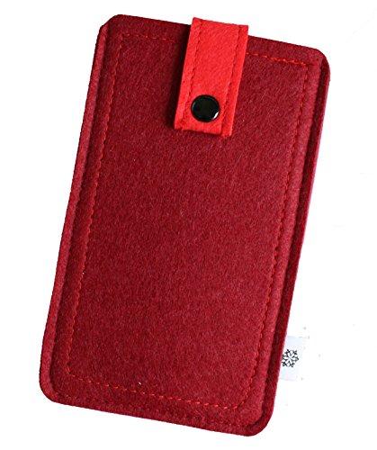 Premium feltro custodia adatto per Apple Iphone, caso di telefono cellulare, con linguetta di estrazione e stampa nopf, Custodia di protezione in bellissimi colori, Pull Out Case Molto Resistente Rot