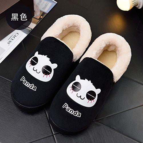 Y-Hui pantofole per donne pantofole in autunno e in inverno,46-47 [per 44-45 piedi indossare],Nero donna (Bao gen.)