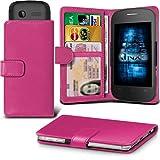 (Hot Pink) Alcatel Idol 3C Hülle Abdeckung Cover Case schutzhülle Tasche Verstellbarer Feder Mappe Identifikation-Kartenhalter-Kasten-Abdeckung ONX3