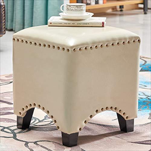 AINIYF Tabouret Repose-Pieds Vintage en Similicuir carré/Repose-Pieds rembourré/avec Garniture décor Table Basse Tabouret (carré) (Couleur : E)