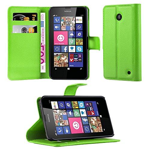Cadorabo Coque pour Nokia Lumia 630/635 en Vert Perroquet - Housse Protection avec Fermoire Magnétique, Stand Horizontal et Fente Carte - Portefeuille Etui Poche Folio Case Cover