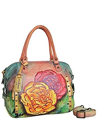 ANUSCHKA Women Designer Leather Handbag *UNIQUE* - 2 FLOWERS -