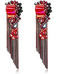 Jewels Galaxy Copper Drop Earrings for Women (Multi-Red)(SMNJG-ERGI-2521)