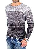 Reslad Herren Pullover melierte warme leichte Feinstrick Männer Jungen Pulli Pullis Strickpullover Sale RS-3106 Schwarz M