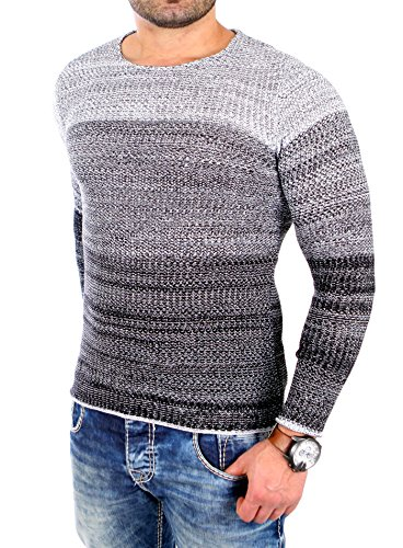 Reslad Strickpullover Herren Color-block Winter Pullover RS-3106 Schwarz
