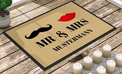 *Individuell bedruckte Fußmatte – 'Mr. & Mrs.' in 3 Größen – V2, Größe der Fußmatte:60 x 85 cm*