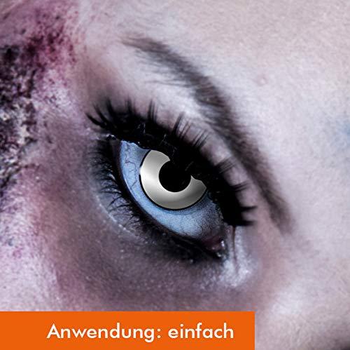 3-Monatslinsen WHITE MANSON, weiße Zombie Kontaktlinsen, Crazy Funlinsen, Halloween, Fastnacht, weiß ... (Brennen Kostüm)