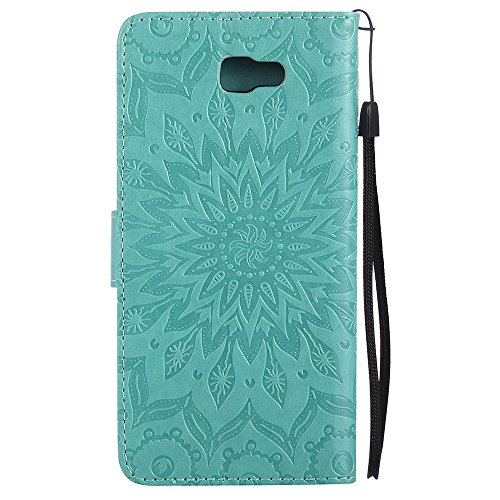 Für Samsung Galaxy J7 Prime Case, Embossing Sonnenblume Magnetic Pattern Premium Soft PU Leder Brieftasche Stand Case Cover mit Lanyard & Halter & Card Slots ( Color : Pink ) Green