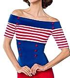 Blaue schulterfreie Bluse aus Jersey mit kurzen Ärmeln und Carmenausschnitt weiß rot gestreift Retro-Top mit Knöpfen XL