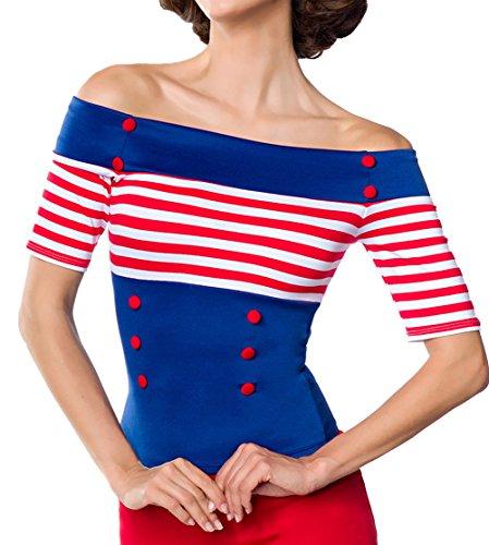 Blaue schulterfreie Bluse aus Jersey mit kurzen Ärmeln und Carmenausschnitt weiß rot gestreift Retro-Top mit Knöpfen M (Knopf Kurze Ein Ärmel)
