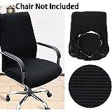 BTSKY moderno Simplism estilo elástico extraíble resistente fundas para respaldo de silla para silla de oficina giratoria silla giratoria ordenador silla reposabrazos silla (solo funda), negro, mediano