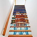 Treppenaufkleber weihnachten Verkleiden Sich Hell Beleuchtet Hüttentreppe Treppe Dekoration Abnehmbar Selbstklebend 18CM*100CM * 13 Teile/Set