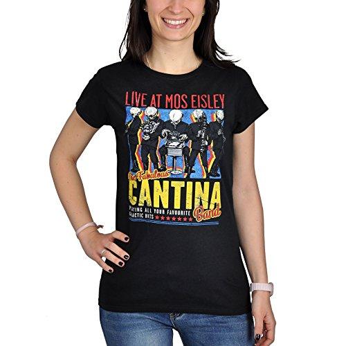 Star Wars - T-shirt da donna con motivo della Cantina Band - Stampa su fronte e retro - Nero - XXL