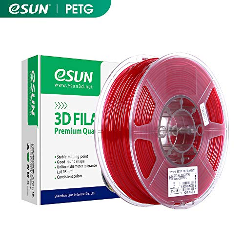isa PETG Filament 3D Printer, Filament 1.75mm PETG, Dimensional accuracy +/- 0.05mm, 2.2 LBS (1kg) for 3D Printer, red Clear