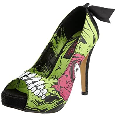 Iron Fist Women's Zombie Chomper Platform Shoe Peep-toe Heel Black IF8332 3 UK