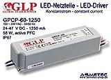Fuente de alimentación conmutada a3843glp gpcp de 60–1250, 1250mA, 24–47VDC, 58W, PFC, IP67