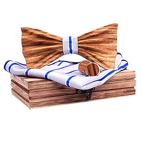 bloatboy Hölz Fliege Herren, Manschettenknöpfe Taschentuch Set, Klassische Mode Hölzerne Krawatte Fliege für Hochzeiten, Aufführungen, Abschlussball (E) -