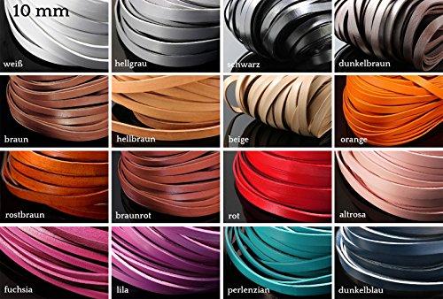 INWARIA Lederband flach 3/5/10/15 mm 1 m Lederriemen Rindsleder Echt Leder Band, LB-20, Schwarz, 10 mm Echtes Leder-band