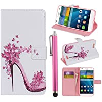 Hunye PU Cuero Carcasa Funda para Huawei Ascend G7 Flip Case con Soporte Tapa Zapato de Señora Flores Mariposas Cover con Stylus Pen rosa
