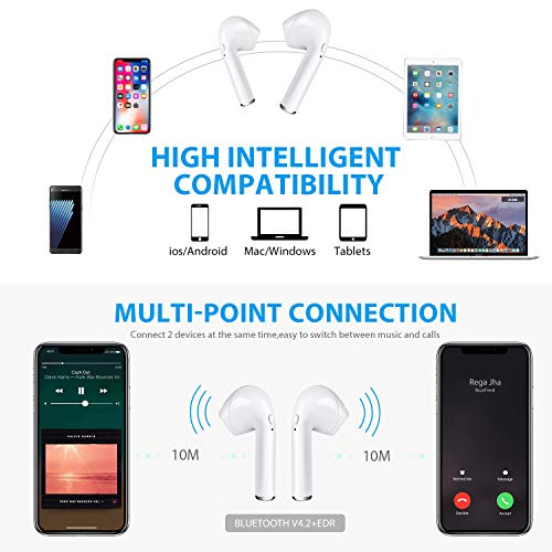 Bluetooth-Kopfhörer Drahtlose Ohrhörer Mini-Größe Im Ohr mit Mikrofon und Ladestation, Drahtlose Headsets Kompatibel mit iPhone Android-Handys(12 Stunden Spielzeit, HD-Stereoton, Rauschunterdrückung) - 5