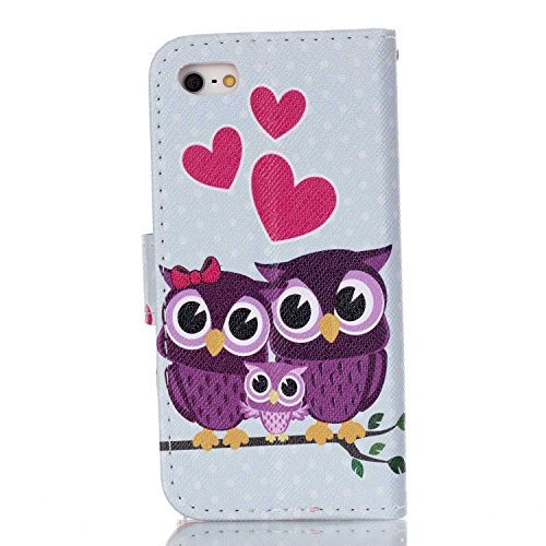 Custodia a portafoglio in vera pelle di alta qualità per iPhone SE, 5e 5S, con fessura portacarte, design creativo+ 1tappo anti polvere a fiore + 1penna stilo, Ecopelle Pelle, Three Owls, Apple iP Three Owls