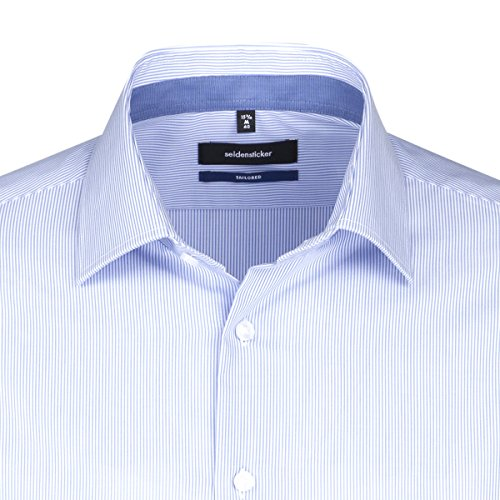 Seidensticker Herren Businesshemd Tailored Bügelfrei Blau (Hellblau 11)