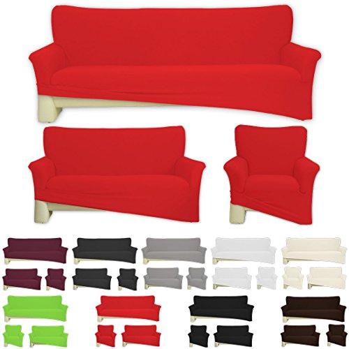 Nurtextil24 Sofahussen Bi-elastisch Jersey 10 Farben und 3 Größen Baumwolle Rot für 1er Sessel