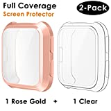 CAVN Compatible Fitbit Versa Screen Protector Case [2 Packs], TPU Plated Screen Protector Rugged Cover Full-Cover Scratch-Proof Protective Bumper Shell for Fitbit Versa Smartwatch, Clear & Rosegold