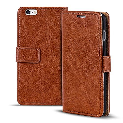 iPhone 6s Plus, 6 Plus Bookstyle Hülle,Conie Mobile Handytasche Wallet Tasche PU Leder Schutzhülle Klapptasche, Kartenfächer, Book Case in Rot Kastanienbraun