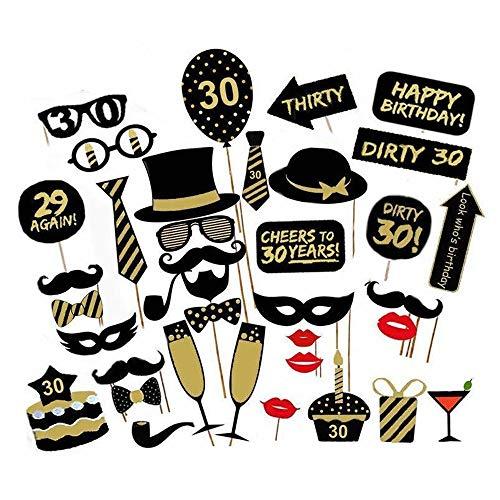 Haokaini Geburtstagsfeier Photo Booth Props für 16/18/21/30/40/50 / 60, 36 Stücke DIY Lustige Party Photobooth Favor Decor Selfie Requisiten Kits (Color : 30th)