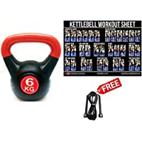 FXR SPORTS 6KG VINYL KETTLEBELL + POSTER & SKIPPING ROPE WEIGHTS HOME GYM CARDIO