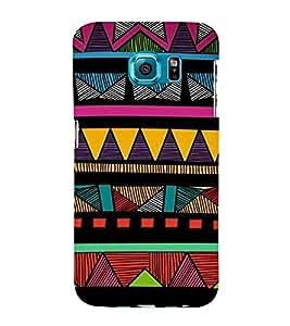Fiobs Designer Phone Back Case Cover Samsung Galaxy S6 Edge :: Samsung Galaxy S6 Edge G925 :: Samsung Galaxy S6 Edge G925I G9250 G925A G925F G925Fq G925K G925L G925S G925T ( Colorful Pattern Design Triangle Blue )