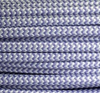 Textilkabel Stoffkabel lilla - weiß , 3-adrig rund , 3x0,75 von Globe Warehouse bei Lampenhans.de