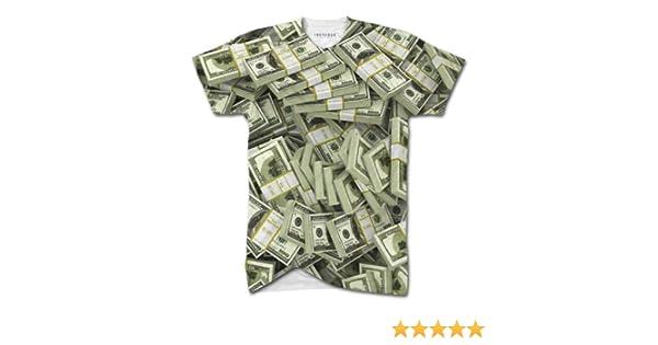 Men/'s Unique 100 Dollar Bills Notes Money Print V Neck T-shirt Fashion Top Tee