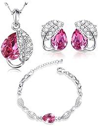 MARENJA Cristal-Conjunto de collar, pendientes y pulsera para mujer, chapado de oro blanco, lágrima y hoja con cristal rojo