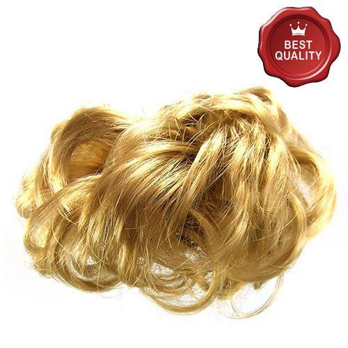 91-609-01 - elastico per capelli fermacoda in capelli sintetici larghezza media - diametro cm 10 e lunghezza ciuffi fino a 7 cm - aspetto naturale - elastici fermacoda extension (biondo miele)